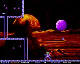Ooops Up Amiga I'm using my harpoon, trying to split the big asteroid.