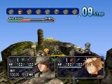 Hoshigami: Ruining Blue Earth PlayStation A soldier is about to attack. At the top of the screen you see the order in which the characters will get their turn.