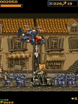 Metal Slug Mobile 3 J2ME Fighting a helicopter with a rocket launcher.