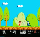 Kid Niki: Radical Ninja NES Spinning your sword to attack an enemy