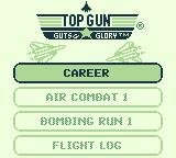 Top Gun: Guts & Glory Game Boy The different game modes are presented. Flight log is the password screen.