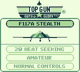Top Gun: Guts & Glory Game Boy Select one of the four fighters.