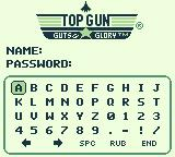 Top Gun: Guts & Glory Game Boy Password screen