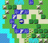 Daisenryaku G Game Gear Blue capital in the middle, surrounded by airbases and cities.