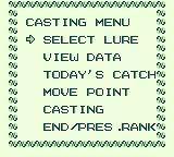 Black Bass: Lure Fishing Game Boy Main game menu