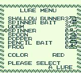Black Bass: Lure Fishing Game Boy Select a type of lure.