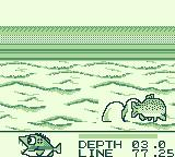 Black Bass: Lure Fishing Game Boy The catching is shown from a side view.