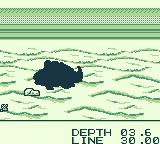 Black Bass: Lure Fishing Game Boy A shadow appears when a fish approaches.