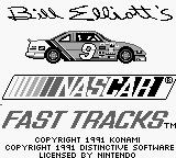 Bill Elliott's NASCAR Fast Tracks Game Boy Title Screen