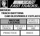 Bill Elliott's NASCAR Fast Tracks Game Boy Main menu