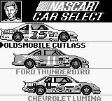 Bill Elliott's NASCAR Fast Tracks Game Boy Car select