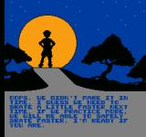 Rollerblade Racer NES Message telling you to practice harder.