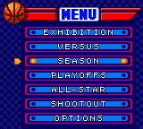 NBA in the Zone 2000 Game Boy Color Main menu