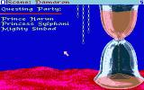 Sinbad and the Throne of the Falcon Amiga The hourglass measures the time remaining, after which the curse on the Caliph becomes permanent