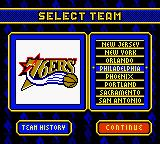 NBA Hoopz Game Boy Color Select a team.
