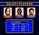 NBA Hoopz Game Boy Color Select players.