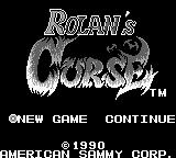 Rolan's Curse Game Boy Main menu