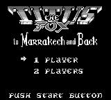 Titus the Fox: To Marrakech and Back Game Boy Main menu