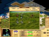 Civilization: Call to Power Windows Fighting screen: Scottish tanks against Portuguese archers.
