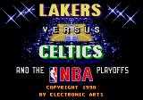 Lakers versus Celtics and the NBA Playoffs Genesis The new title screen.