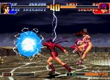 "The King of Fighters '97 Neo Geo CD While Orochi Shermie's DM Ankoku Raikou Ken is performed, Mai Shiranui uses the ""Backstep"" command."