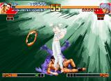 The King of Fighters '97 Neo Geo CD Trying to avoid Orochi's DM Bright Light, Joe Higashi uses the Guard Cancel Emergency Evade command.