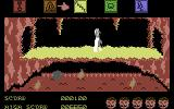 Dragonskulle Commodore 64 Using a magical cloak, to avoid dying in this hot room.