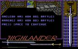 Highlander Commodore 64 I finally managed to win a battle, but it wasn't easy. And they couldn't spell Ramirez name.