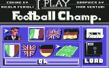 I Play: Football Champ. Commodore 64 Main Menu...