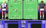 I Play: Football Champ. Commodore 64 Adjusting team's formation on the field...