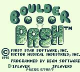Boulder Dash Game Boy Title screen (one or two players)