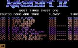 Kikstart 2 Commodore 64 The best times on different courses.