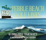 True Golf Classics: Pebble Beach Golf Links SNES Title screen (European release)
