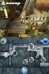 Assassin's Creed: Altaïr's Chronicles Nintendo DS Blue sparkles spots are checkpoints.