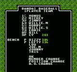 Legends of the Diamond NES The line-up screen before the game starts.