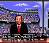 MLBPA Baseball SNES The announcer, Ron Barr, tells who is up at bat and who is pitching.
