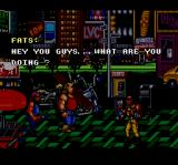 The Combatribes SNES I just beat up his entire gang and he asks me what I'm doing. A wiseguy, eh?