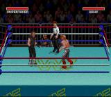 WWF Super WrestleMania SNES It's the Undertaker vs. Hawk.