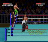 WWF Super WrestleMania SNES Diving off the ropes.