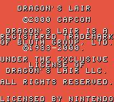 Dragon's Lair Game Boy Color Title and copyright info