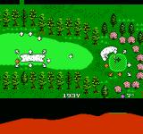Golf Grand Slam NES The bottom of the screen shows that the green is on an elevated plateau