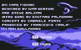 Big Game Fishing Commodore 64 Language selection with credits in background