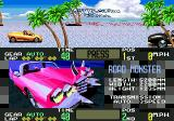OutRunners Genesis Title screen showing Road Monster car