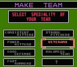 Baseball Stars 2 NES Creating a team: choosing team specialty
