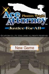 Phoenix Wright: Ace Attorney - Justice for All Nintendo DS Title screen