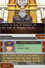 Phoenix Wright: Ace Attorney - Justice for All Nintendo DS The judge and the victim