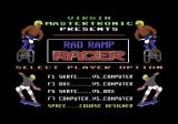 Rad Ramp Racer Commodore 64 Title and options