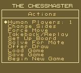 The Chessmaster Game Boy The Actions screen.