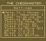 The Chessmaster Game Boy The Settings screen.