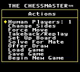 The Chessmaster Game Gear The Actions screen.